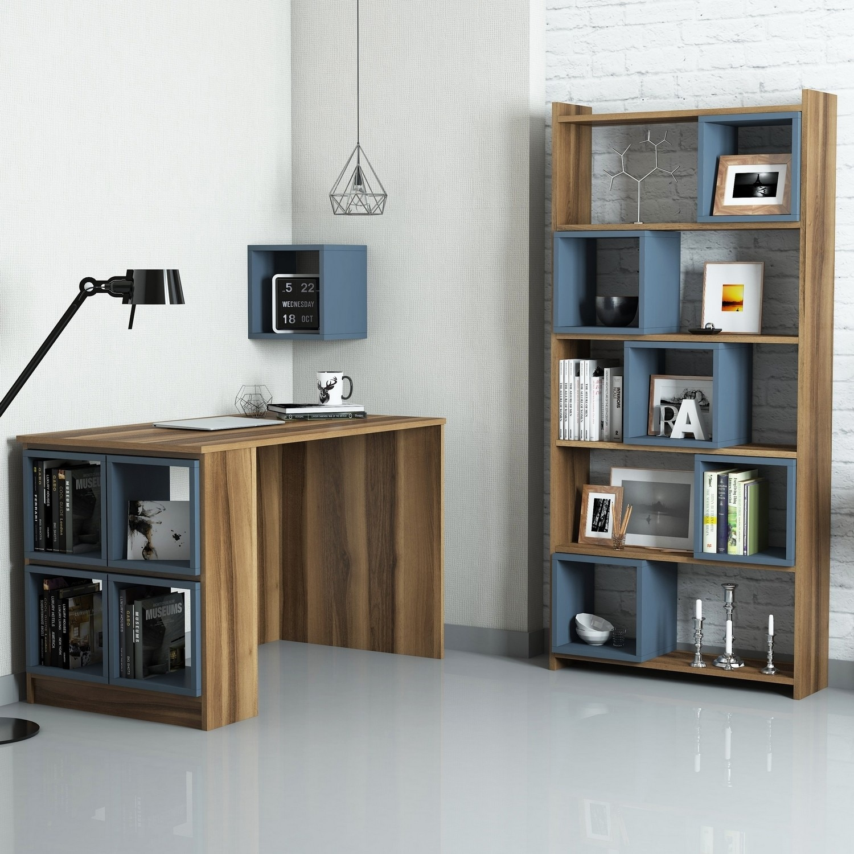 Fotografie Set birou si biblioteca Hommy Craft, 100% pal melaminat, birou 120x65x75, biblioteca 80x22x170cm, nuc