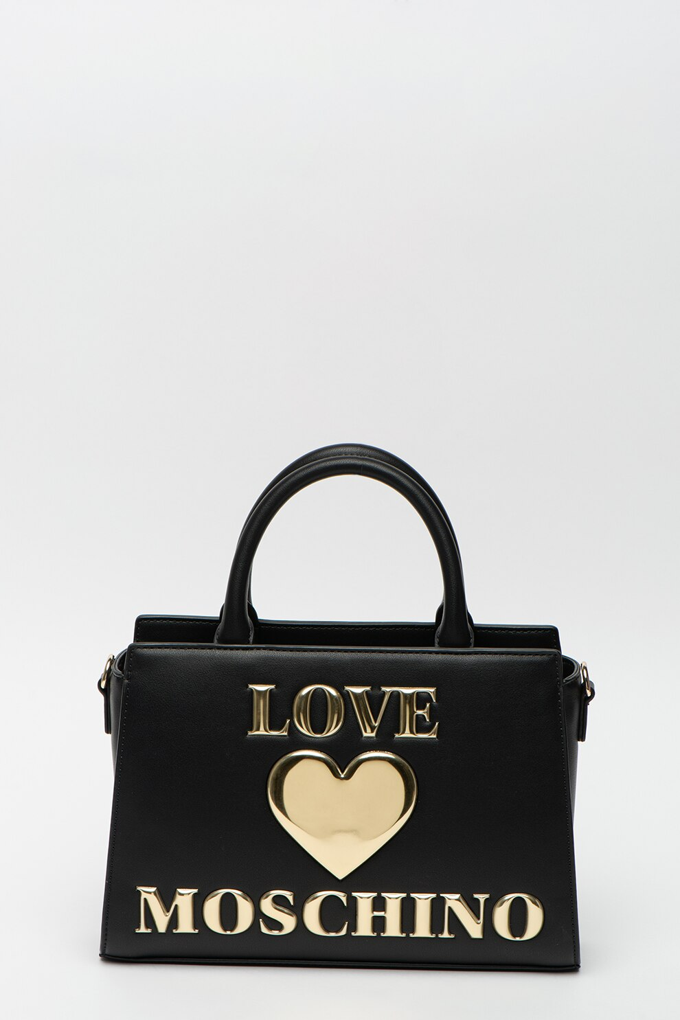 Fotografie Love Moschino, Geanta din piele ecologica, cu bareta de umar si aplicatie logo, Negru/Auriu