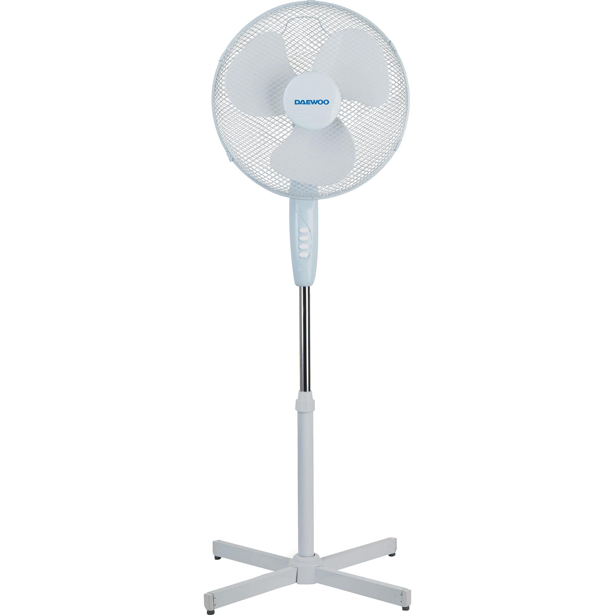 Fotografie Ventilator cu picior Daewoo DDV1699V, putere 50 W, 40 cm diametru, trei trepte de putere, inaltime reglabila pana la 125 cm, gril frontal de protectie, oscilare la 90 grade, baza stabila, Alb