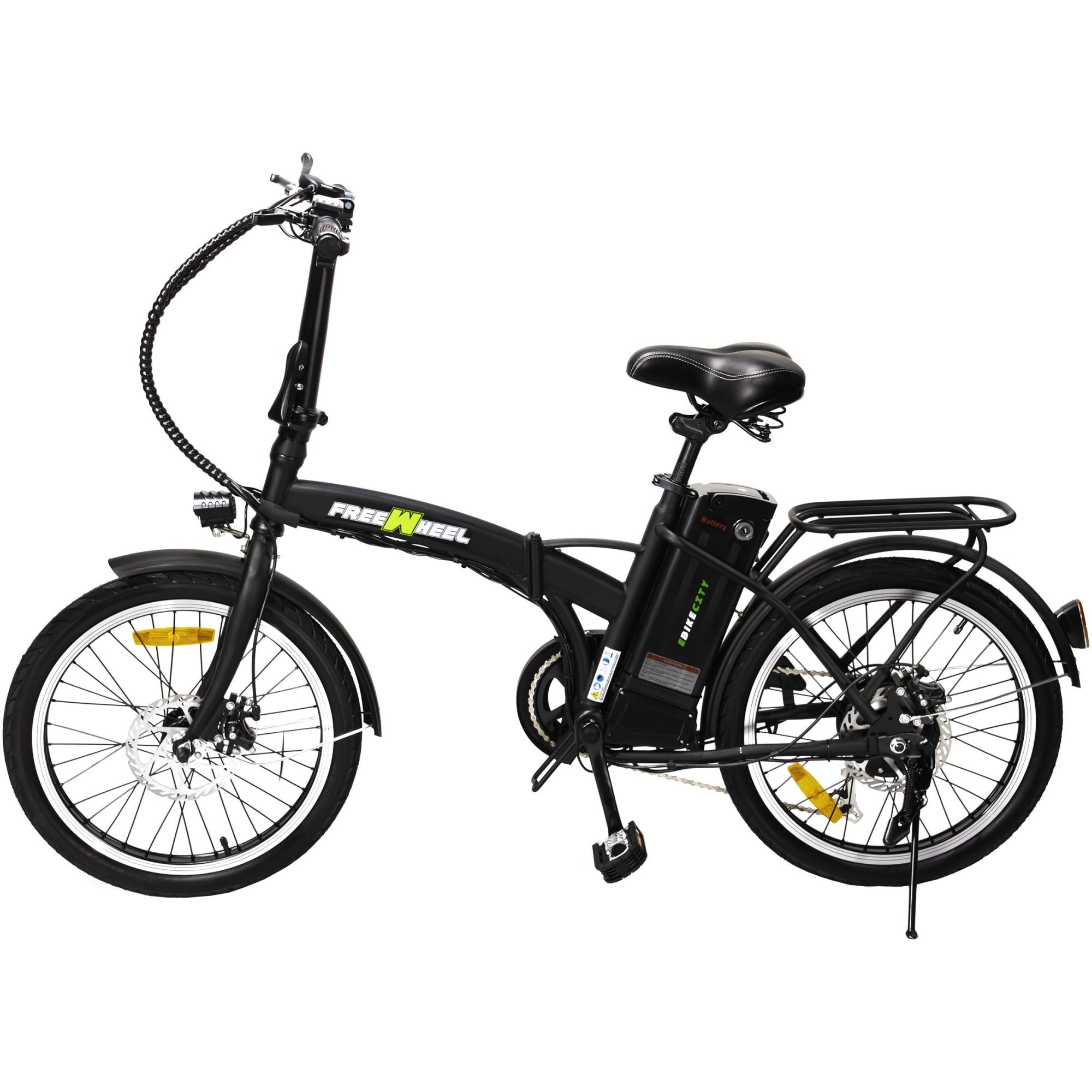 "Fotografie Bicicleta electrica FreeWheel E-bike City, Pliabila, Roti 20"", Frana disc fata/spate, Motor 250W, Autonomie pana la 35Km, Viteza maxima 25Km/h, Negru"