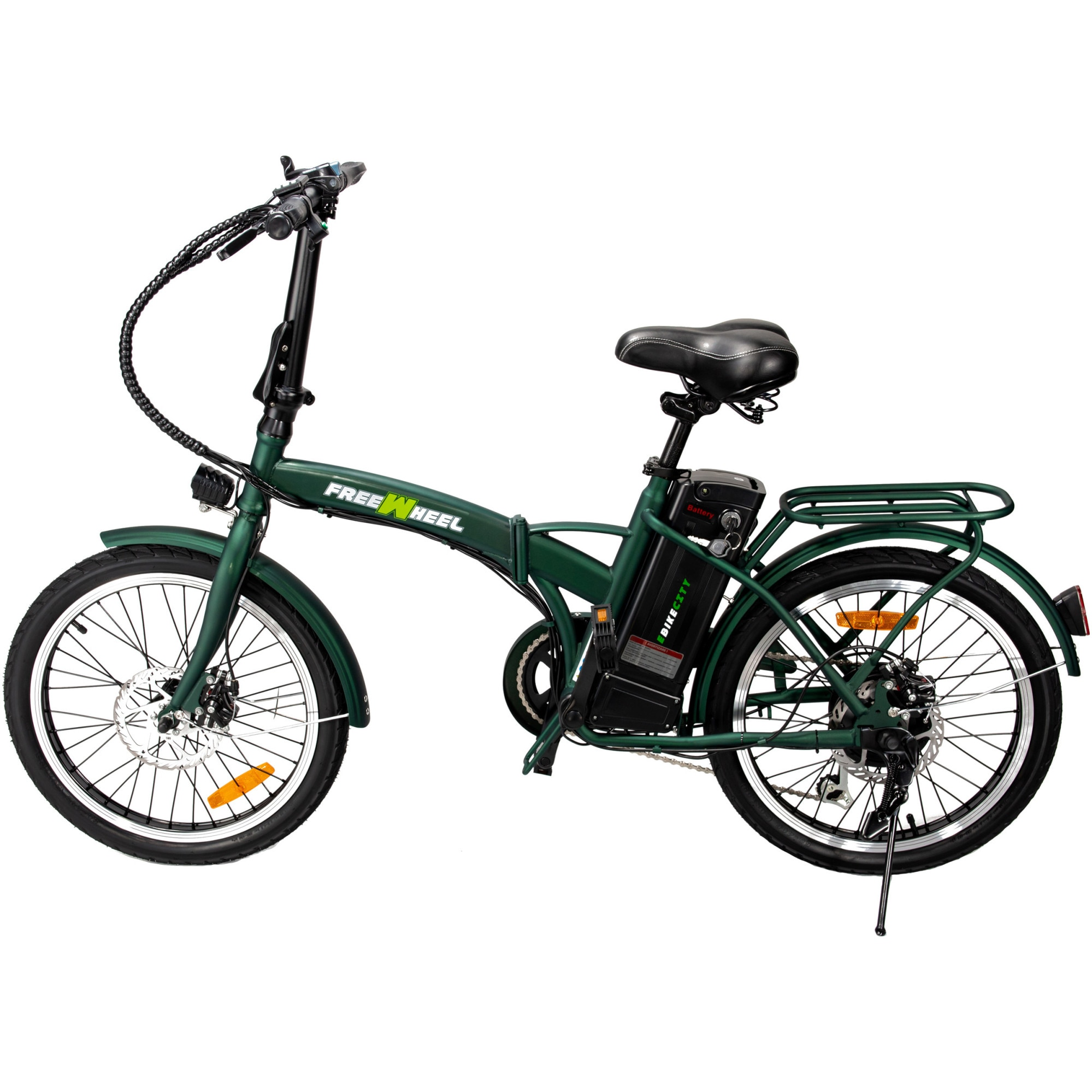 "Fotografie Bicicleta electrica FreeWheel E-bike City, Pliabila, Roti 20"", Frana disc fata/spate, Motor 250W, Autonomie pana la 35Km, Viteza maxima 25Km/h, Verde"