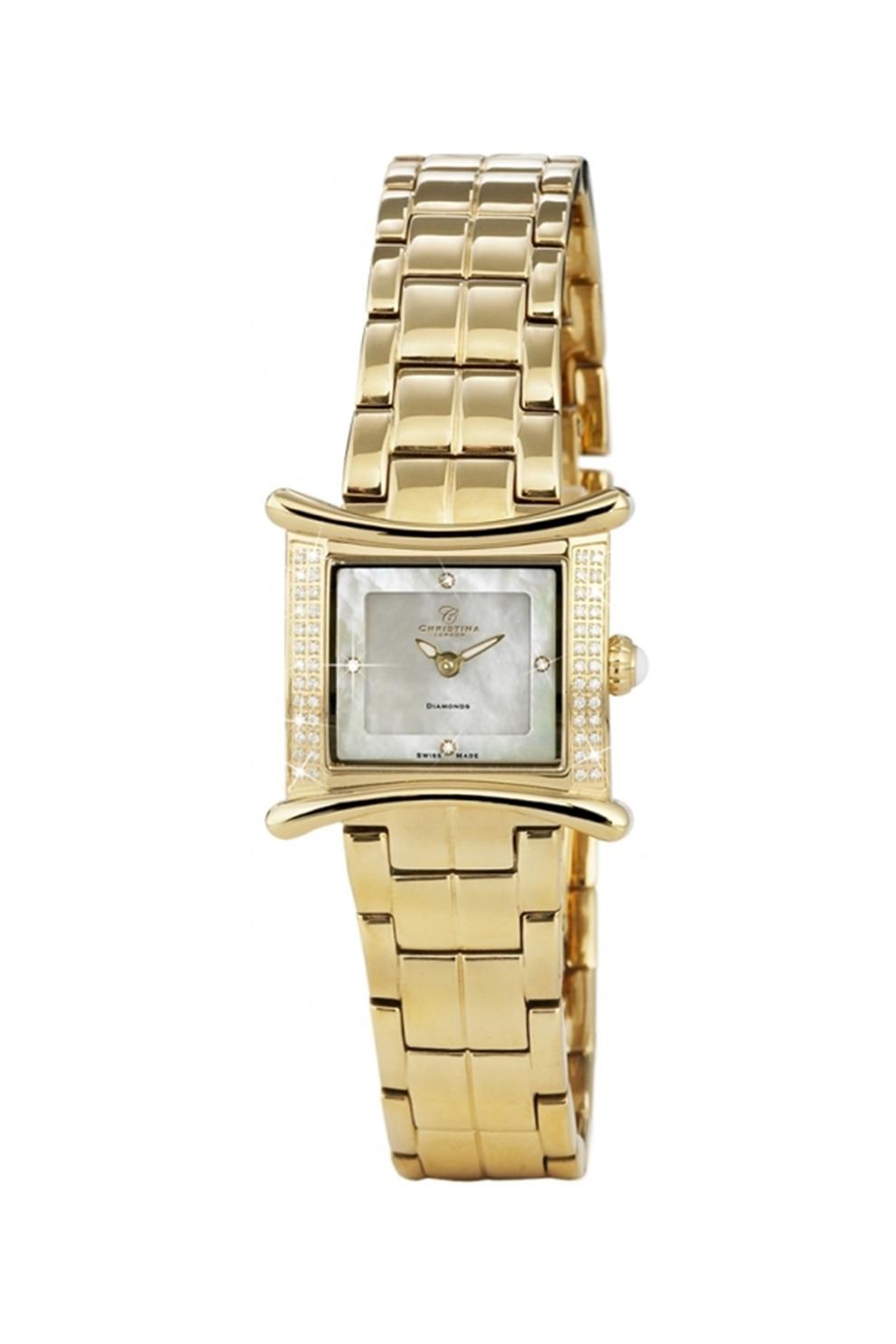 Fotografie Christina Jewelry& Watches, Ceas placat cu aur de 18K si decorat cu 56 de diamante, Auriu