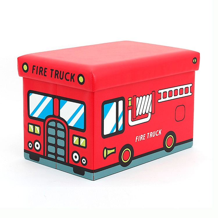 Artflame PUFF Összehajtható gyerek zsámoly, tűzoltóautós, tárolóhellyel, piros LqzMit