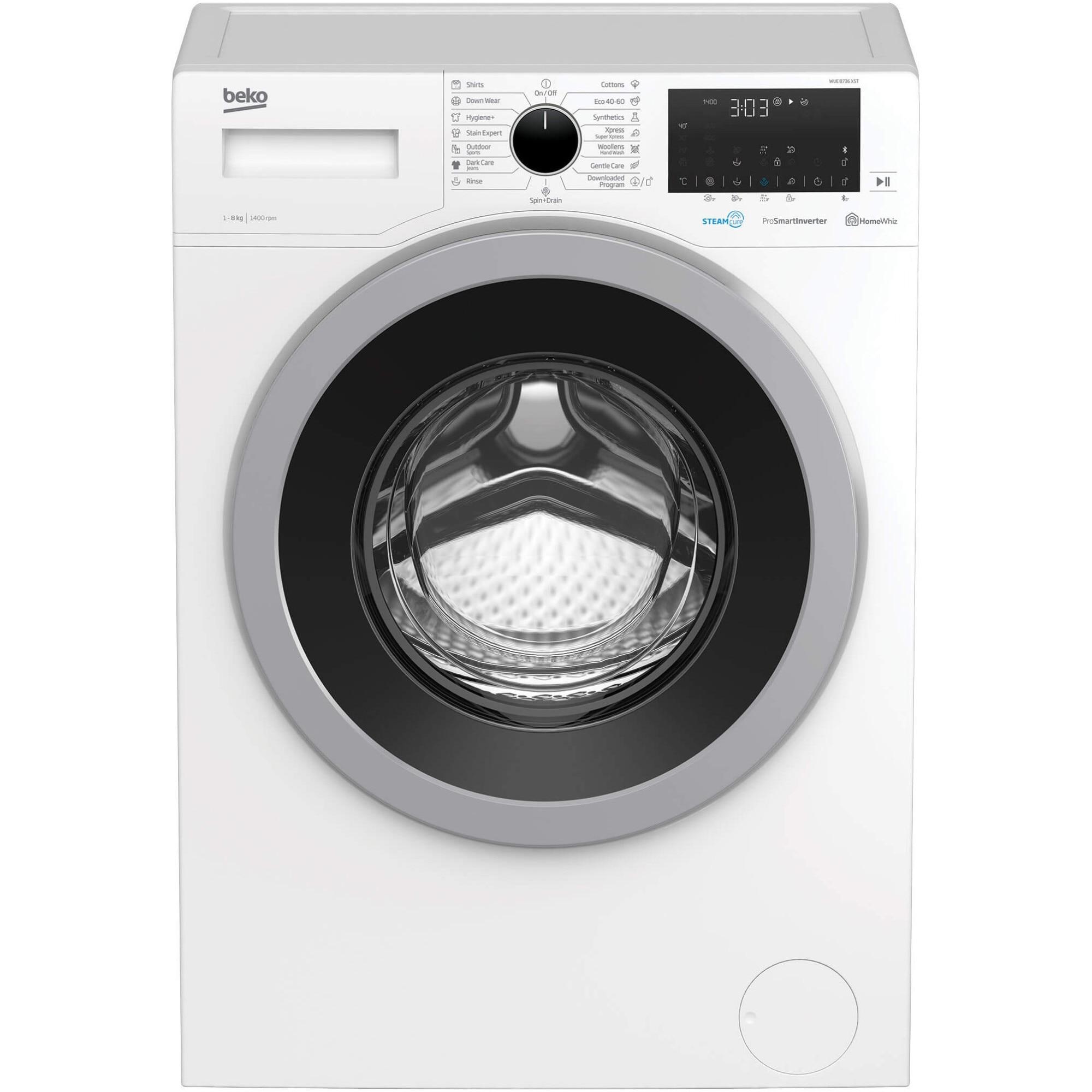 Fotografie Masina de spalat rufe Beko WUE8736XST, 8 kg, Clasa C, 1400 RPM, HomeWhiz, Bluetooth, SteamCure, Add Garment, Motor ProSmart Inverter, Alb