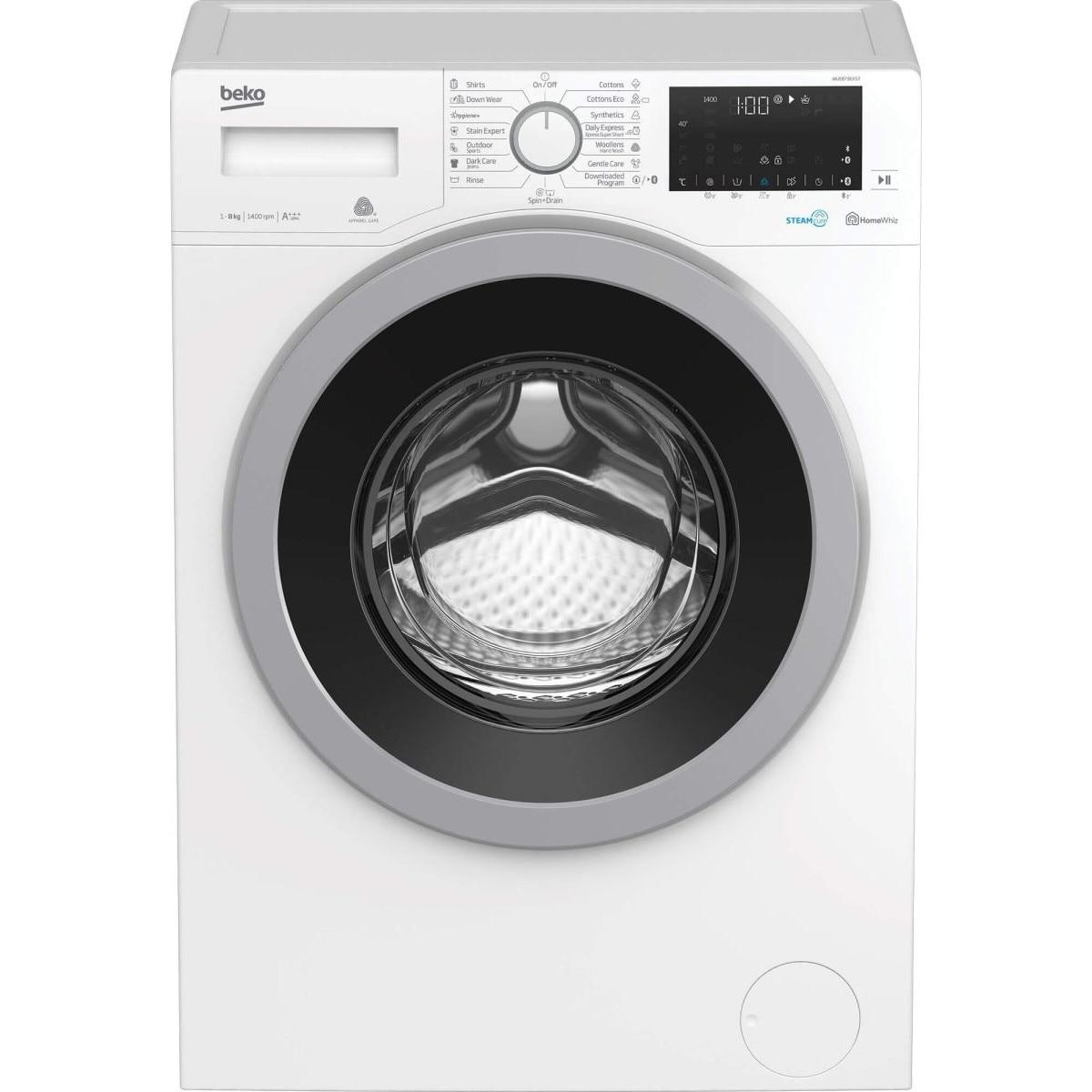 Fotografie Masina de spalat rufe Beko WUE8736XST, 8 kg, Clasa A+++, 1400 RPM, HomeWhiz, Bluetooth, SteamCure, Add Garment, Motor ProSmart Inverter, Alb