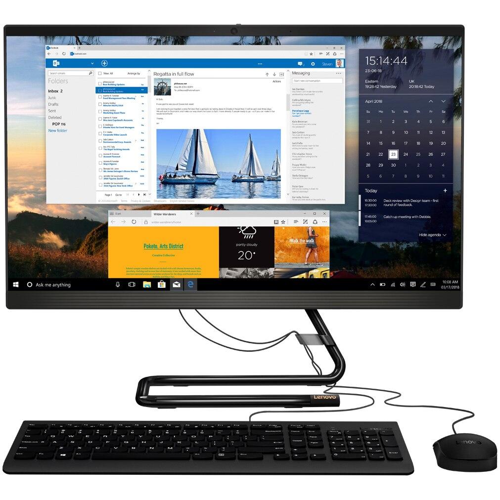 "Fotografie Sistem All-in-One Lenovo IdeaCentre AIO 3 24ARE05 cu procesor AMD Ryzen™ 5 4500U pana la 4.00 GHz, 23.8"", Full HD, 8GB DDR4, 256GB SSD NVMe, DVD-RW, AMD Radeon™ Graphics, No OS, Mouse + Tastatura"