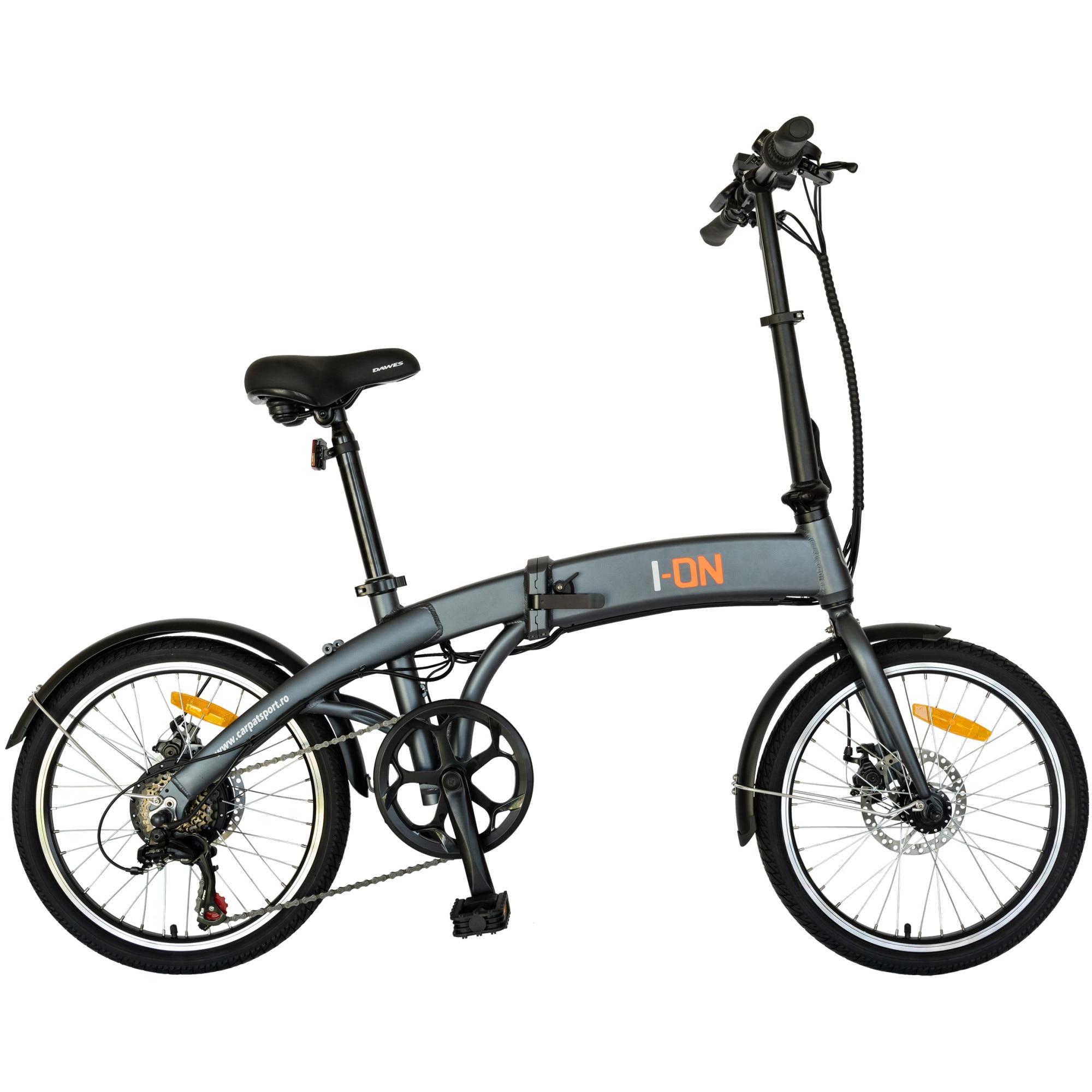 Fotografie Bicicleta Pliabila Electrica I-ON I1004E gri/portocaliu , 20 inch , Motor 36V, 250 W , Baterie Li-on 36V-6.6Ah
