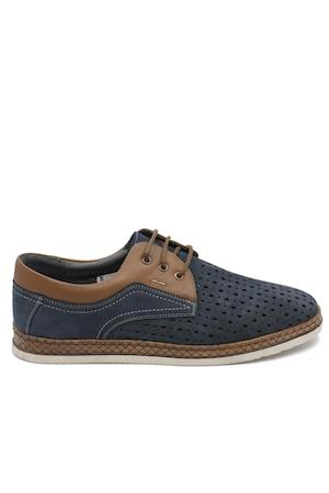 Pantofi casual bleumarin perforati din piele intoarsa-43 EU