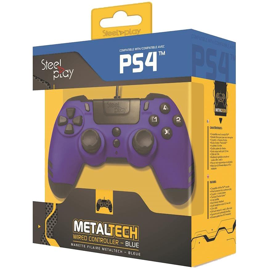 Fotografie Controller Metaltech Wired Steelplay, Sapphire Blue pentru PC, PlayStation 3 si PlayStation 4