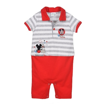 Бебешки гащеризон Disney Mickey, Памук, 9-12 месеца, 74 см, Бял/Червен