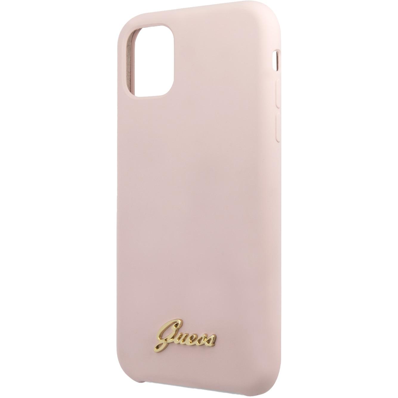 Fotografie Husa de protectie Guess Silicone Vintage Gold Logo GUHCN61LSLMGLP pentru iPhone 11, Pink
