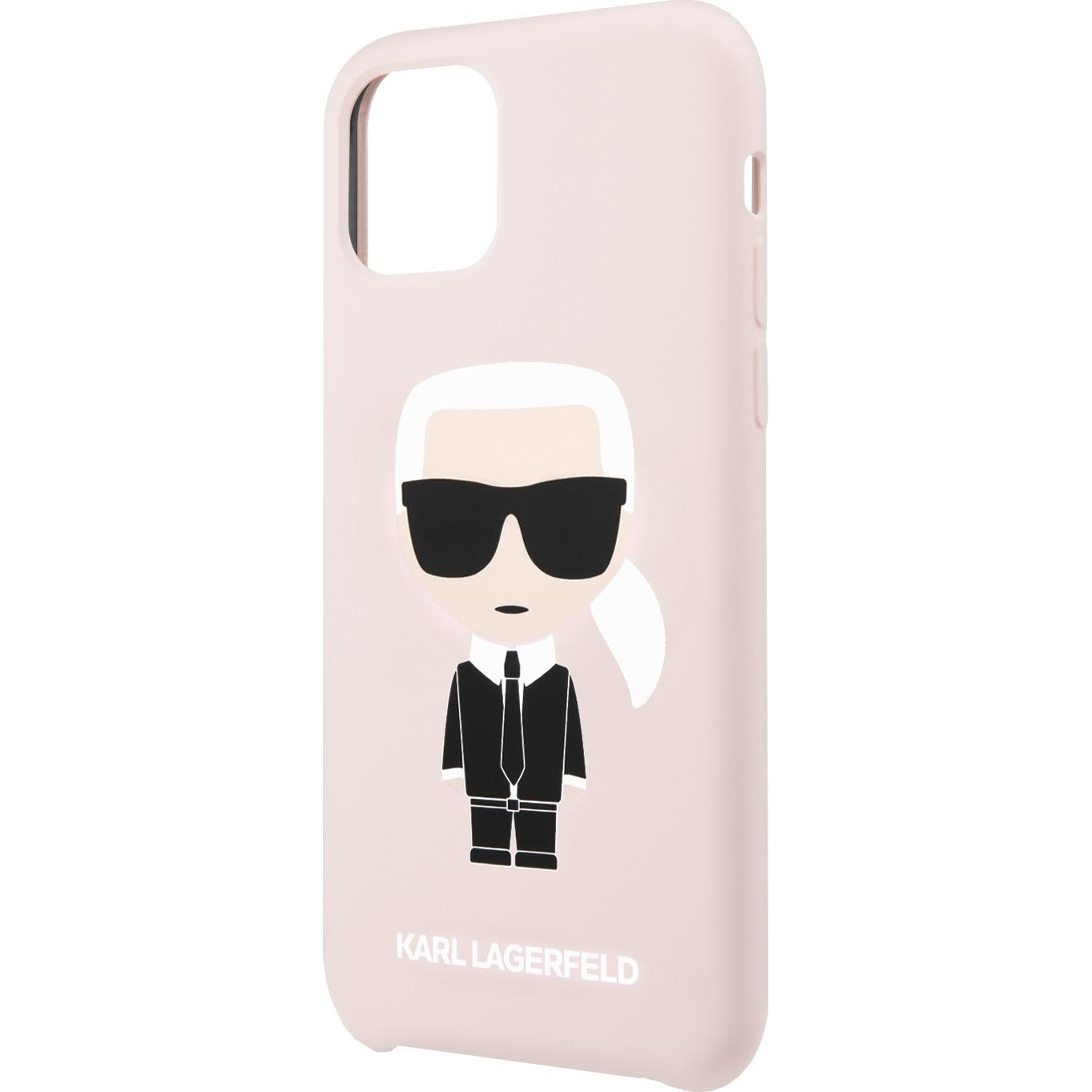 Fotografie Husa de protectie Karl Lagerfeld Iconic Silicone pentru iPhone 11 Pro, KLHCN58SLFKPI, Pink