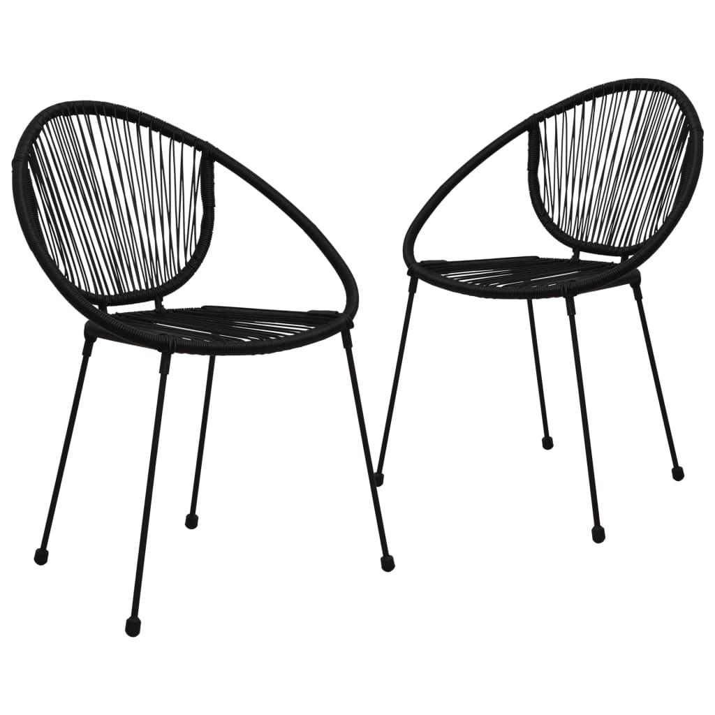 vidaXL 2 db fekete PVC rattan kerti szék