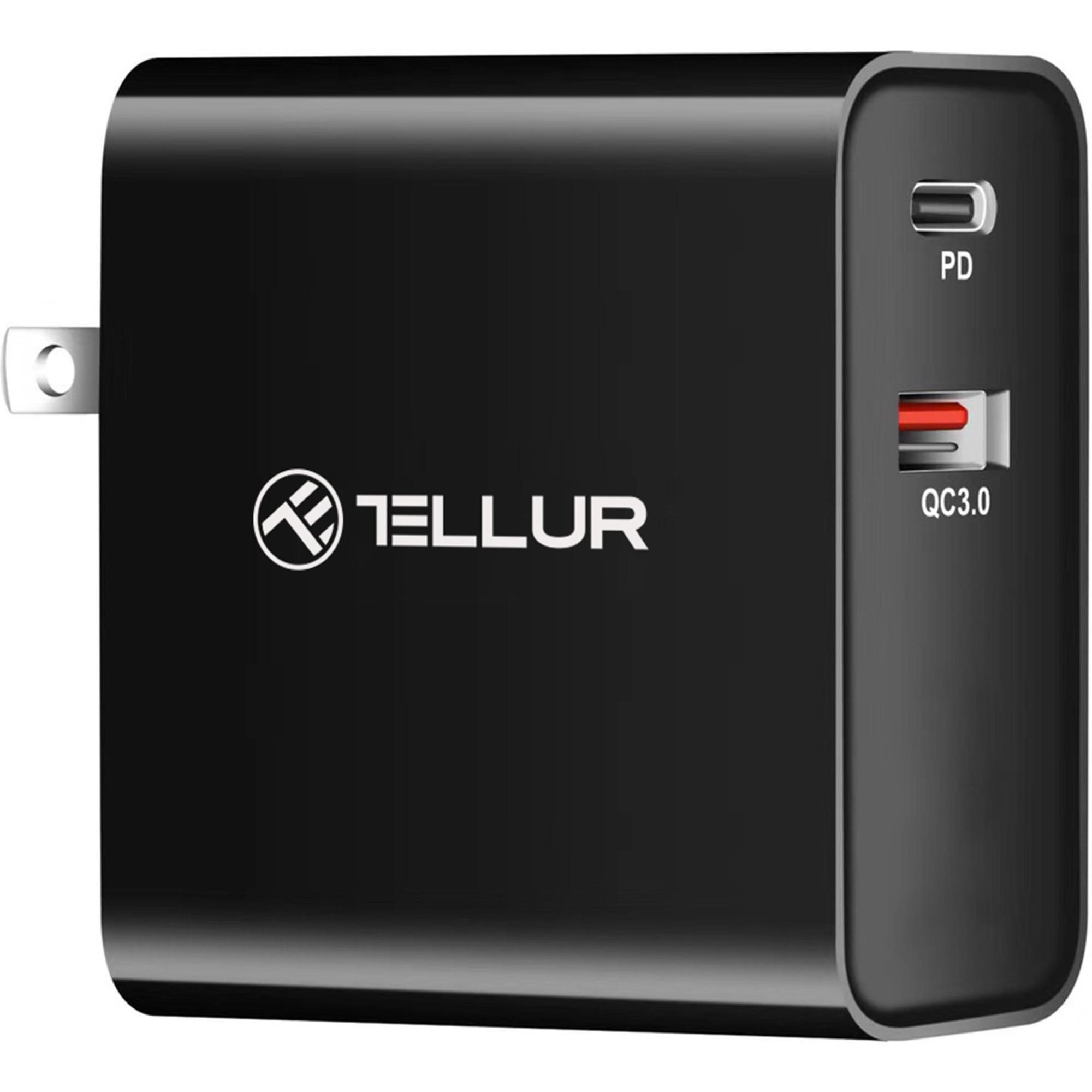 Fotografie Incarcator retea Tellur PDHC1 48W PD30W + QC3.0, 3 adaptoare priza (US, EU, UK), Negru
