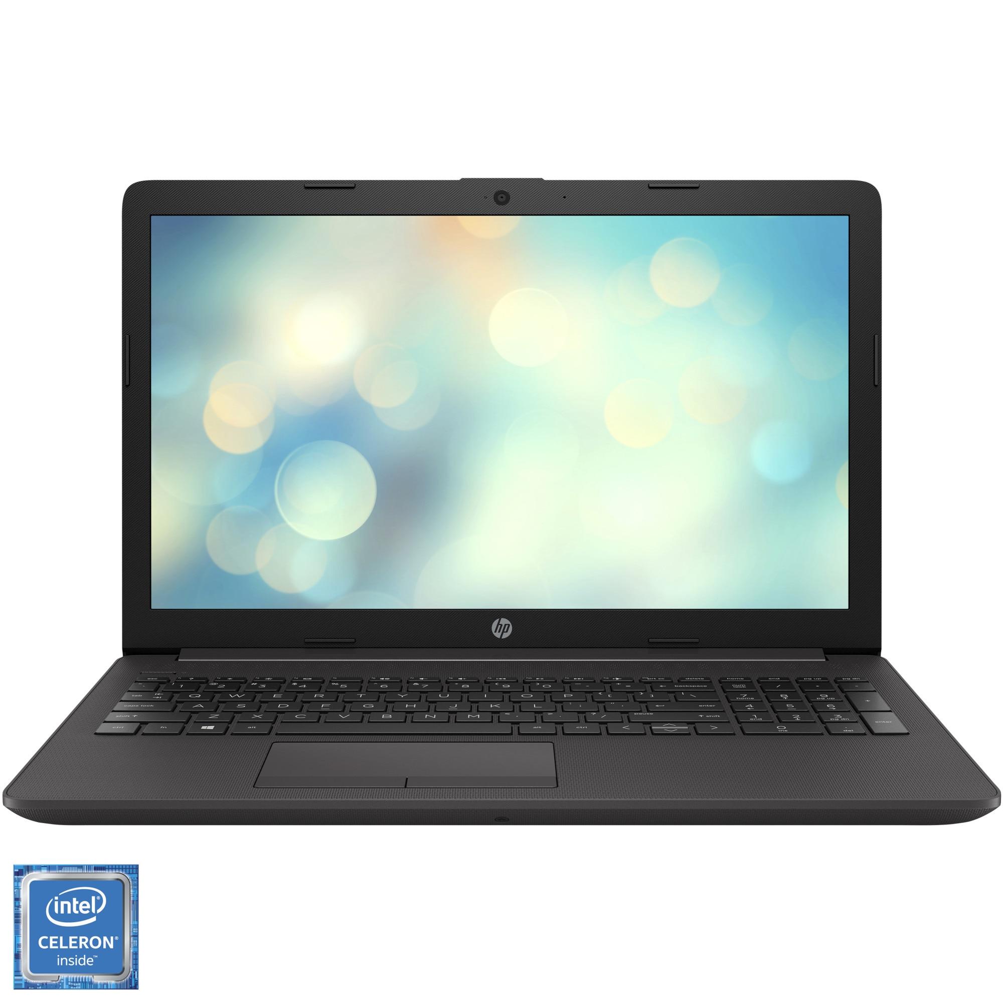 """Fotografie Laptop HP 250 G7 cu procesor Intel® Celeron® N4020 pana la 2.80 GHz, 15.6"""", HD, 4GB, 500GB HDD, DVD-RW, Free DOS, Dark ash silver"""