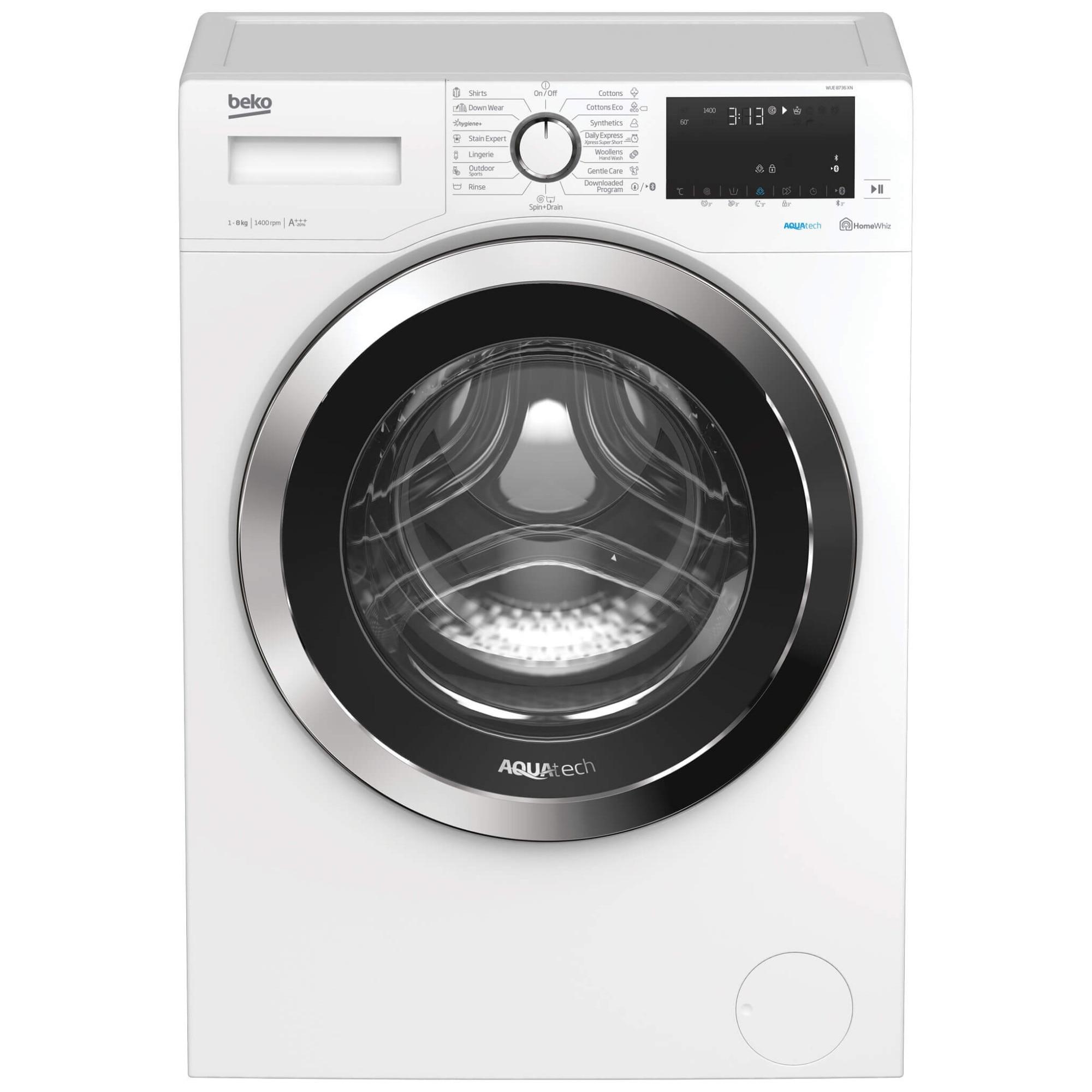 Fotografie Masina de spalat rufe Beko WUE8736XN, 8 kg, 1400 RPM, Clasa A, AquaTech, HomeWhiz, Bluetooth, SteamCure, Add Garment, Motor ProSmart Inverter, Hygiene, Alb