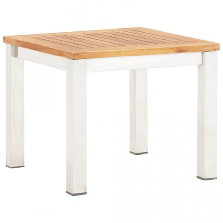 Masa laterala de gradina 45 x 45 x 38 cm lemn acacia si otel