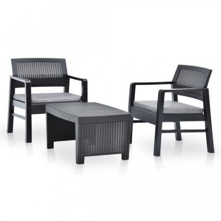 Set mobilier de gradina, 3 piese antracit plastic