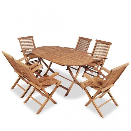 Set mobilier pentru exterior, pliabil, 7 piese, lemn masiv de tec