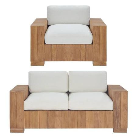 Seturi canapele, 2 piese, lemn masiv de tec