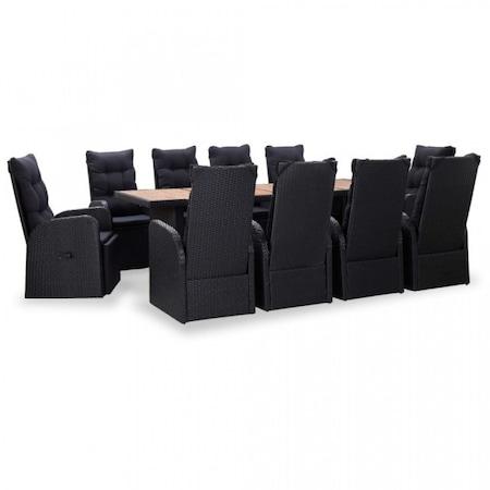 Set mobilier exterior, 11 piese negru poliratan lemn acacia