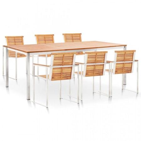 Set mobilier exterior, 7 piese lemn de acacia si otel inoxidabil