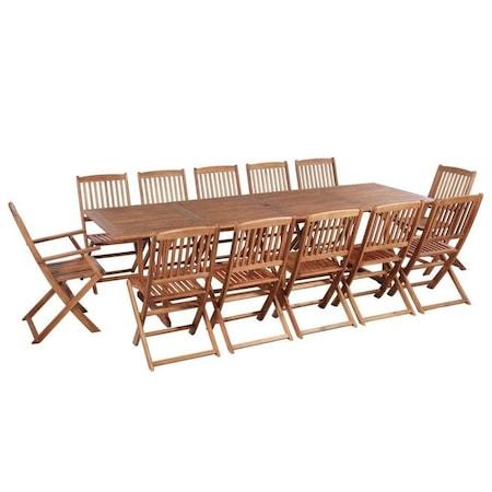 Set mobilier pentru exterior, 13 piese, lemn masiv de acacia