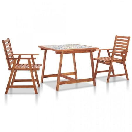 Set mobilier exterior, blat mozaic 3 piese lemn masiv acacia