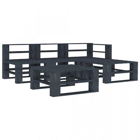 Set mobilier de gradina, din paleti 5 piese gri lemn