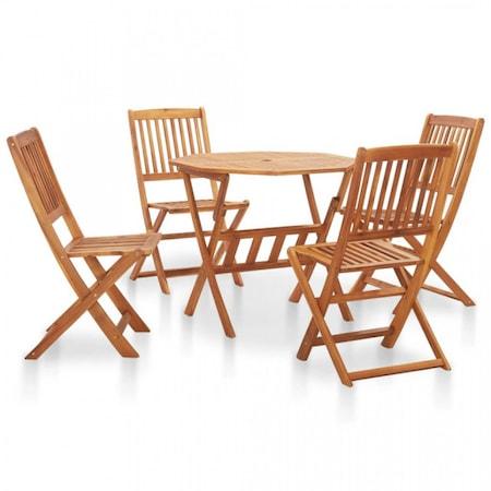 Set mobilier de exterior, pliabil 5 piese lemn masiv de acacia