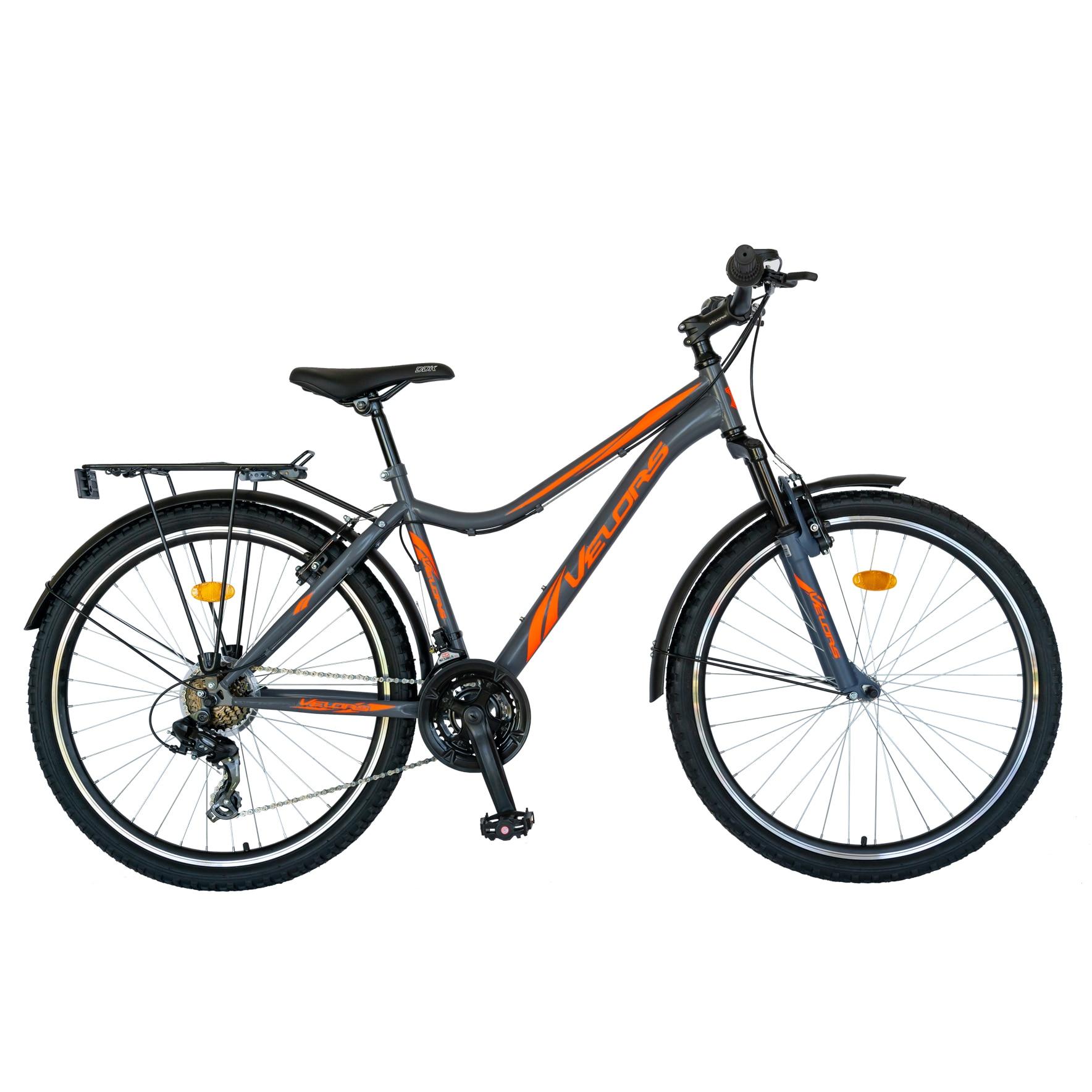 """Fotografie Bicicleta City 24"""" Carpat V2433B echipare Shimano, Gri/Portocaliu"""