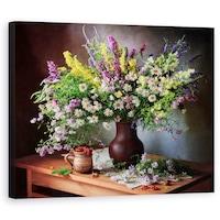 Картина на платно Dekorkep, Натюрморт с диви цветя и горски плодове, 40 х 50 см
