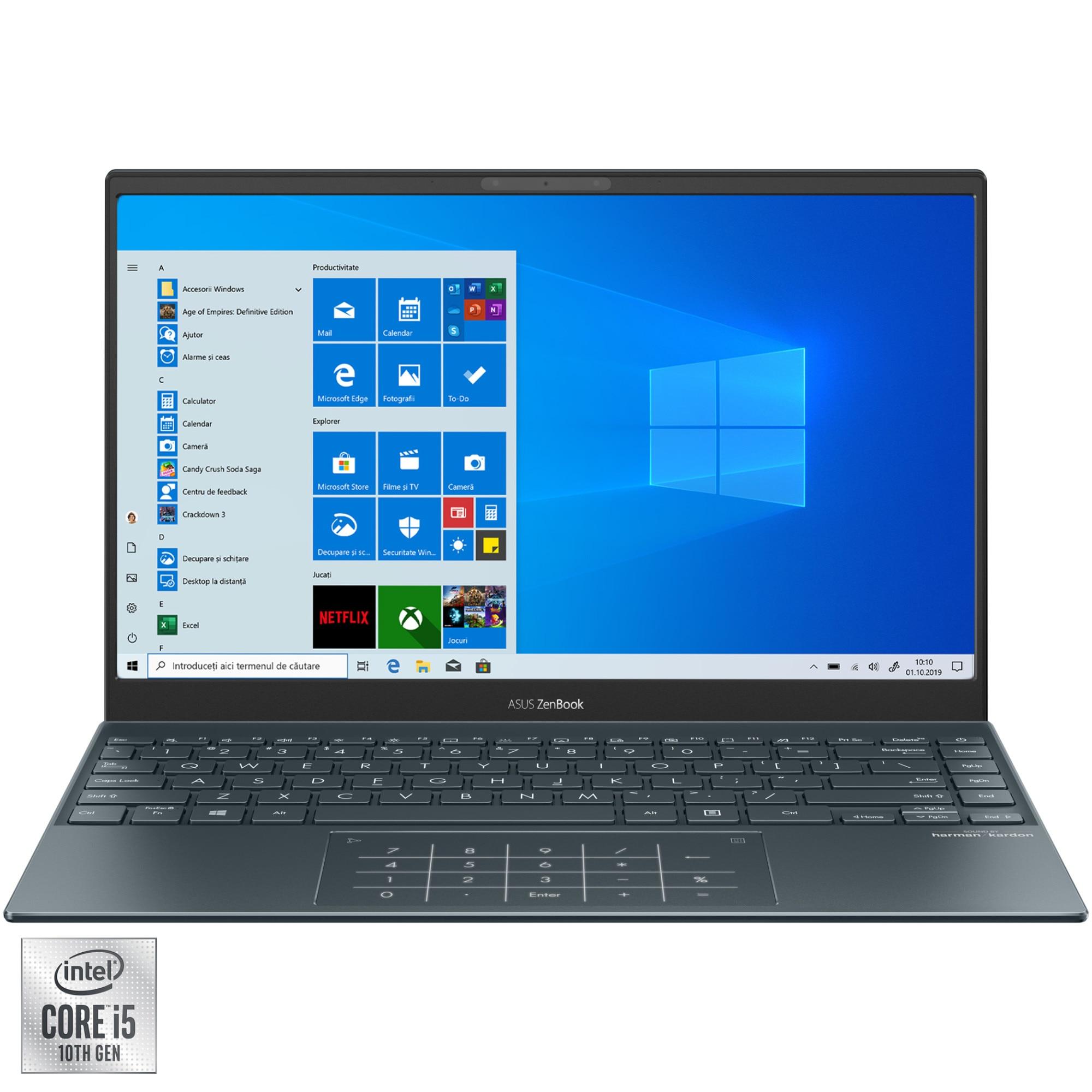 "Fotografie Laptop ultraportabil ASUS ZenBook 13 UX325JA cu procesor Intel® Core™ i5-1035G1 pana la 3.60 GHz, 13.3"", Full HD, 8GB, 512GB SSD, Intel® UHD Graphics, Windows 10 Pro, Pine Grey"