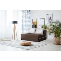 Разтегателно канапе Urban Living Bedora, тъмен шоколад / маргаритки, 136x80x40 см