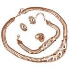 Arany színű kígyós nyaklánc, fülbevaló, karkötő és gyűrű szett