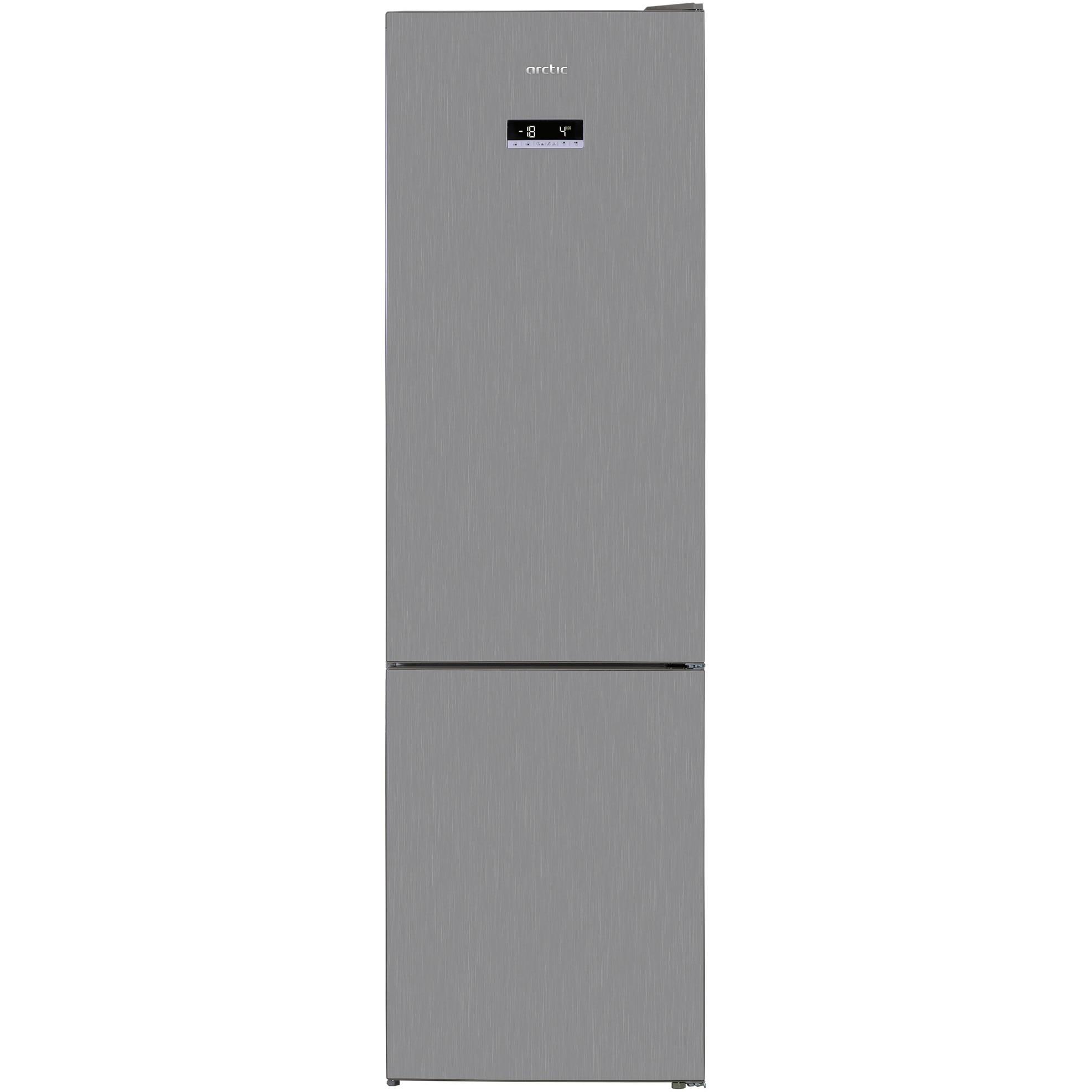 Fotografie Combina frigorifica semi-incorporabila Arctic AK60406E40NFMT, 362 l, NoFrost, Display, Air Flow, Clasa A++, H 202 cm, Argintiu