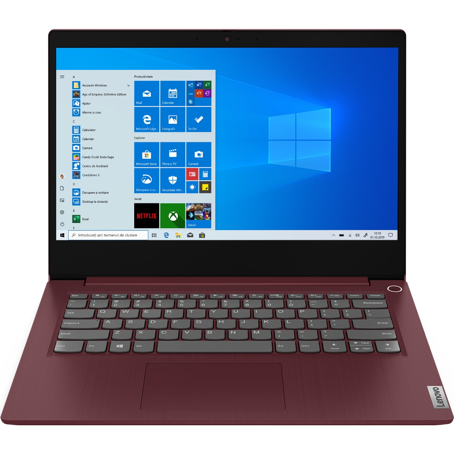 "Fotografie Laptop Lenovo IdeaPad 3 14ADA05 cu procesor AMD Ryzen™ 3 3250U, 14"" Full HD, 4GB, 256GB SSD, AMD Radeon™ Graphics, Windows 10 Home S, Cherry Red"