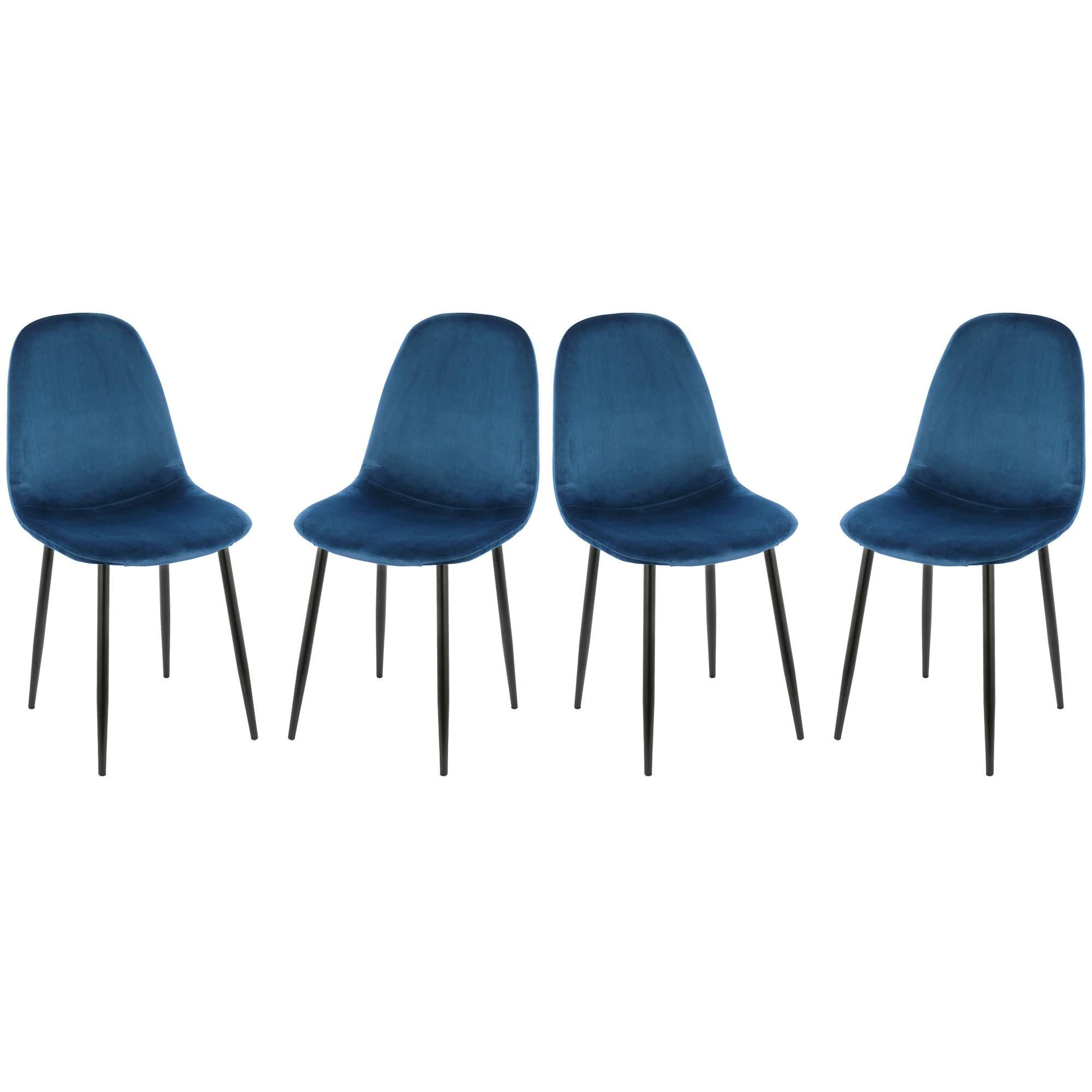 Fotografie Set 4 scaune Kring Miles, material textil, Albastru Royal
