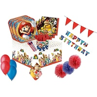 Set accesorii petrecere, Amscan, Super Mario, Hartie, Multicolor