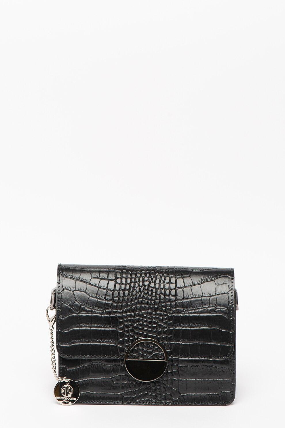 Fotografie Matilde Costa, Geanta plic din piele cu textura de piele de sarpe, Negru