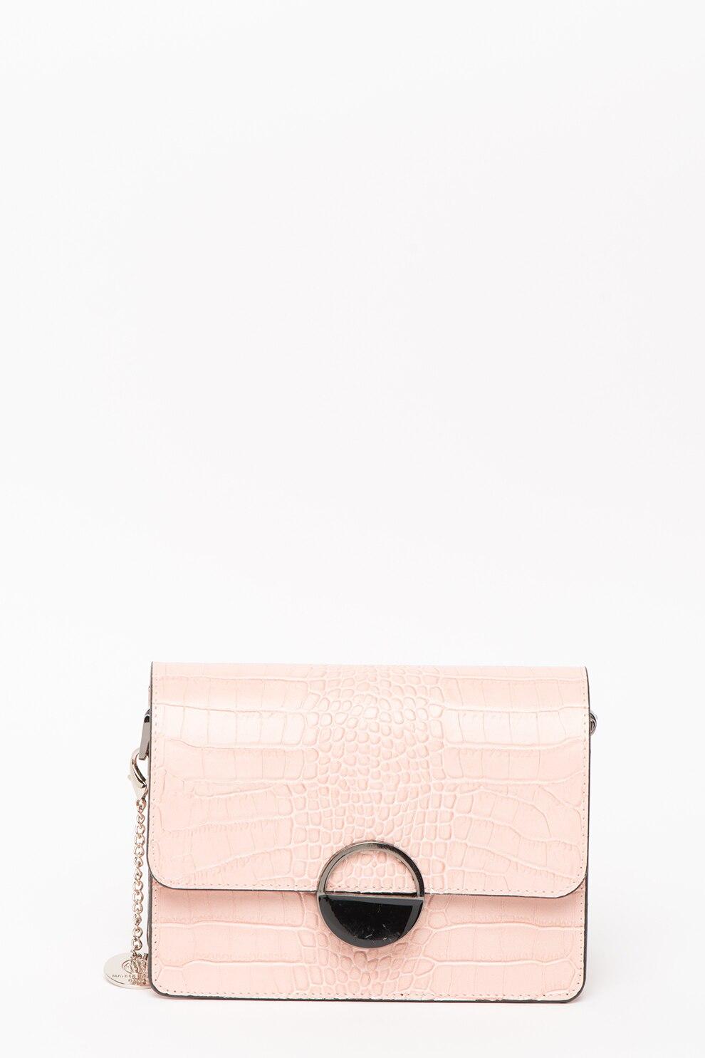Fotografie Matilde Costa, Geanta plic din piele cu textura de piele de sarpe, Roz pastel