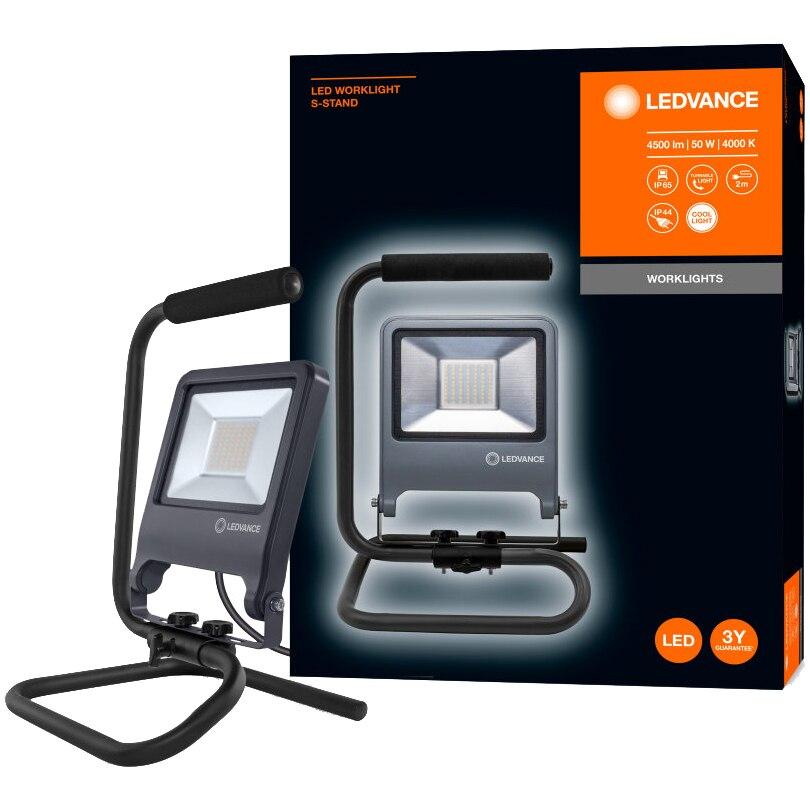 Fotografie Proiector LED (lampa de lucru) Ledvance S-Stand, 50W, 4500 lm, A+, temperatura lumina 4000K, IP65/IP44, 220-240V, cablu 2m, Aluminiu