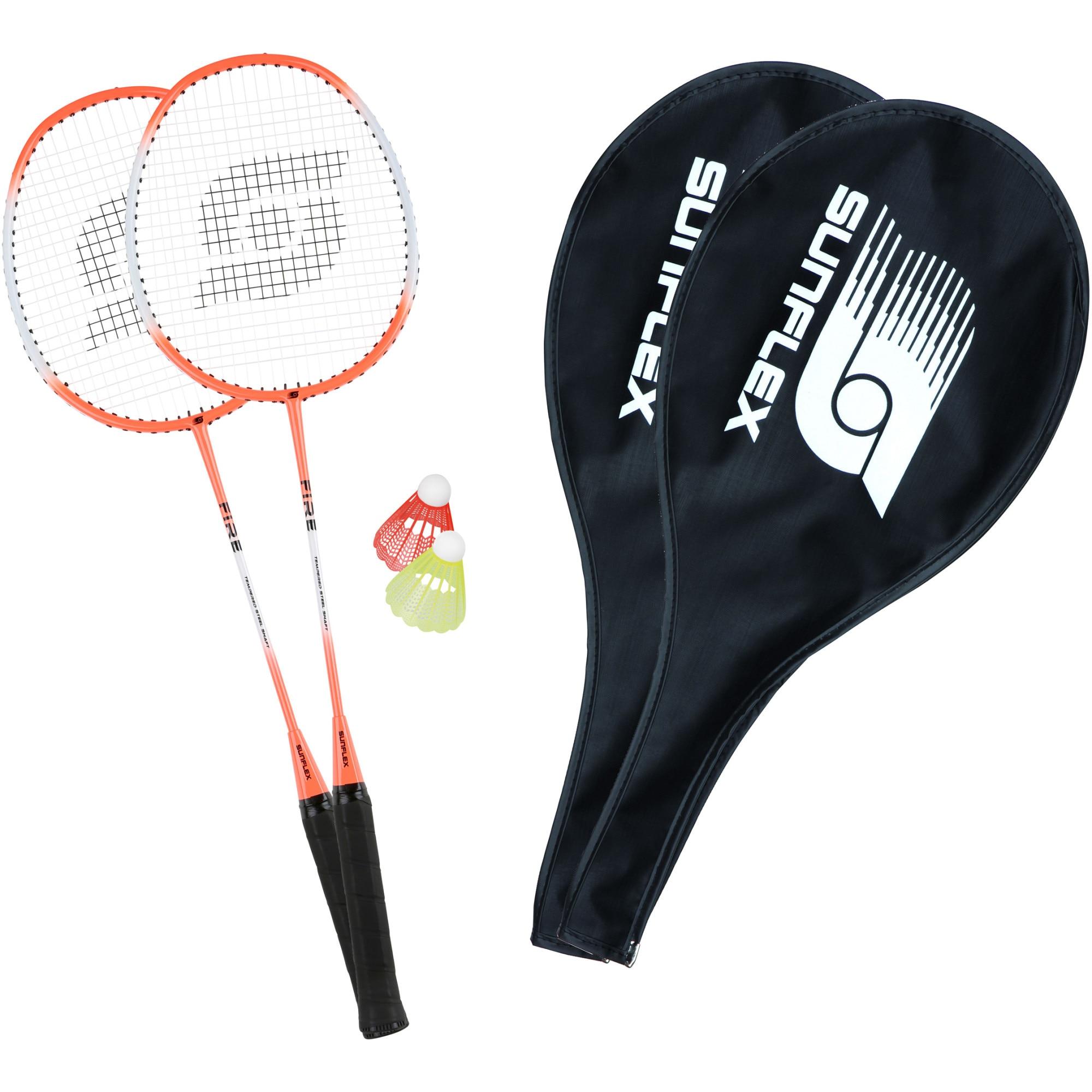 Fotografie Set badminton Sunflex Fire, 2 palete+2 huse+2 fluturasi
