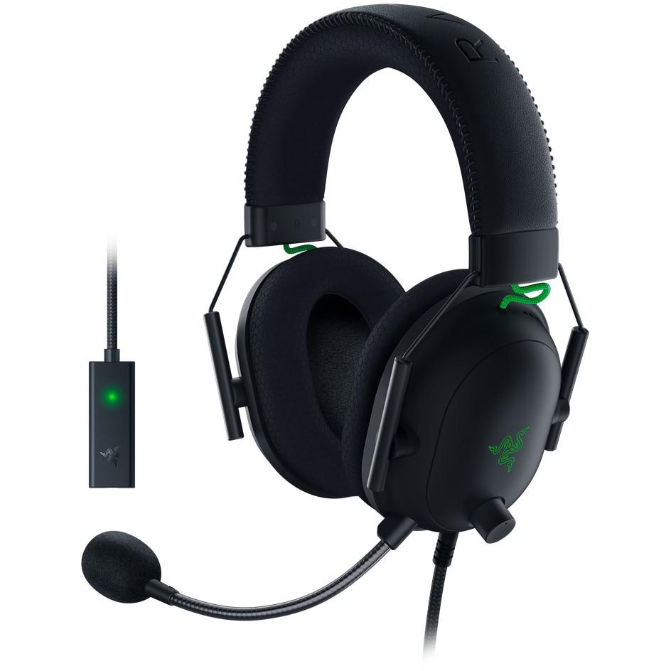 Fotografie Casti gaming Razer BlackShark V2 + USB SoundCard, Multiplatforma, THX Certified, Drivere 50mm TriForce Titanium, Microfon Cardioid, Negru