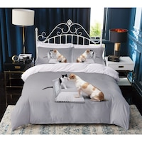 7Mall - SENDIA® 3D állatos 7 részes ágyneműhuzat garnitúra – Szorgos kutya és kiscica