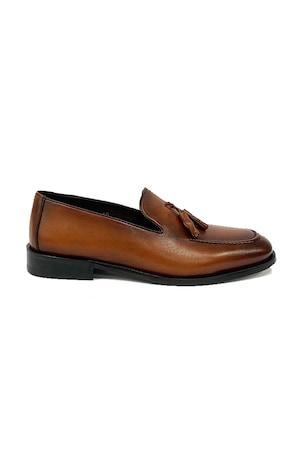 Pantofi barbati, 4 Men Ceremony, Piele naturala, maro deschis fara siret , 39 EU