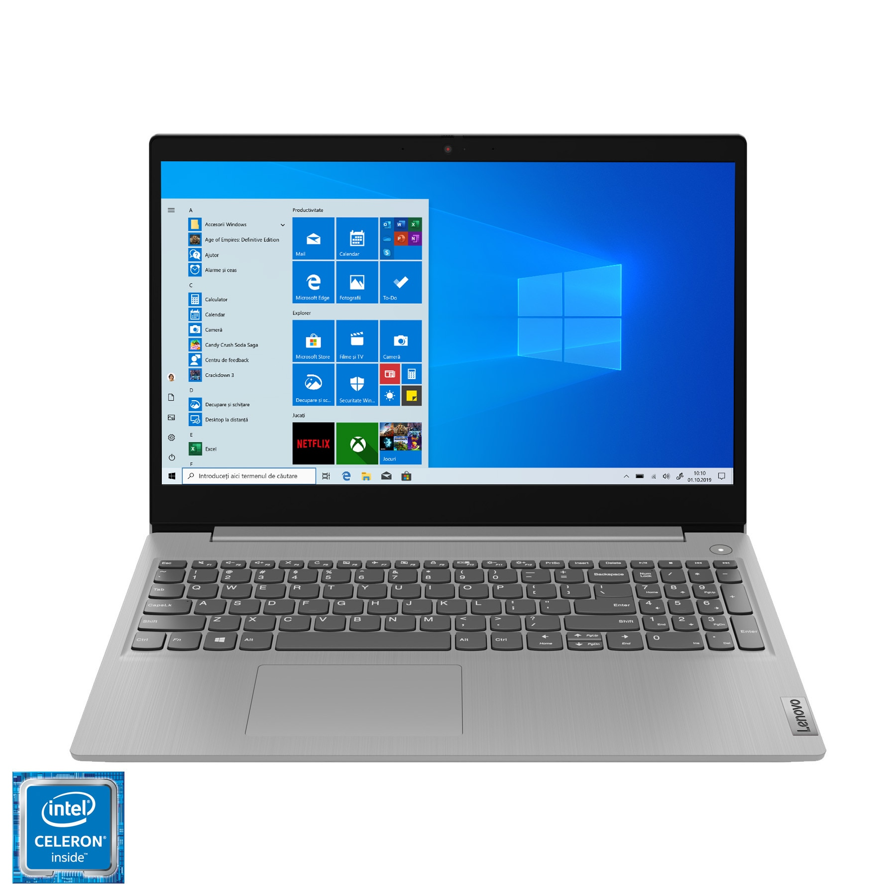 "Fotografie Laptop Lenovo IdeaPad 3 15IML05 cu procesor Intel® Celeron® 5205U, 15.6"" HD, 4GB, 128GB SSD, Intel® UHD Graphics, Windows 10 Home S, Platinum Grey"