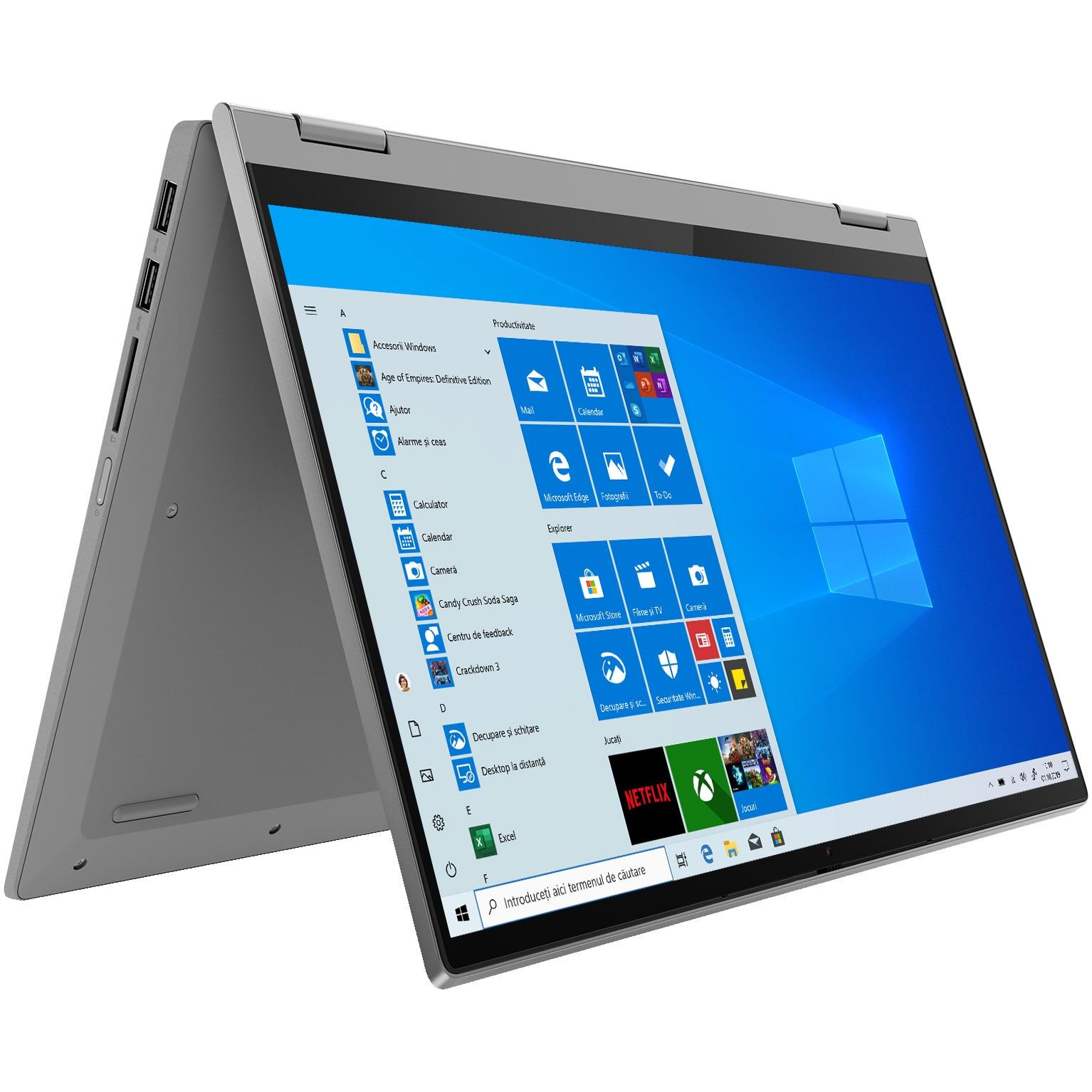 "Fotografie Laptop 2 in 1 Lenovo IdeaPad Flex 5 14ALC05 cu procesor AMD Ryzen 7 5700U pana la 4.30 GHz, 14"", Full HD, 16GB, 512GB SSD, AMD Radeon Graphics, Windows 10 Home, Platinum Grey"