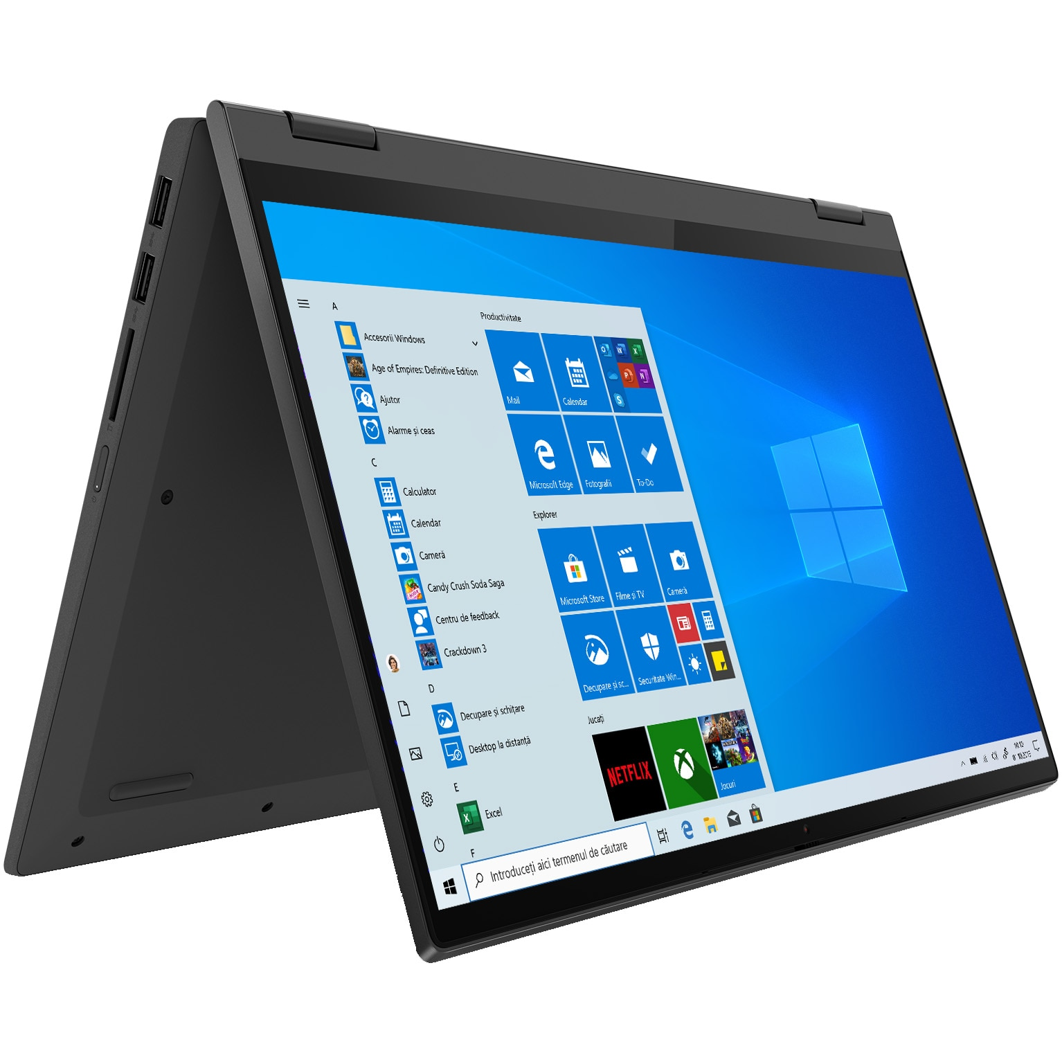 "Fotografie Laptop 2 in1 Lenovo IdeaPad Flex 5 14ARE05 cu procesor AMD Ryzen™ 3 4300U, 14"" Full HD, Touchscreen, 8GB, 256GB SSD, AMD Radeon™ Graphics, Windows 10 Home, Graphite Grey"