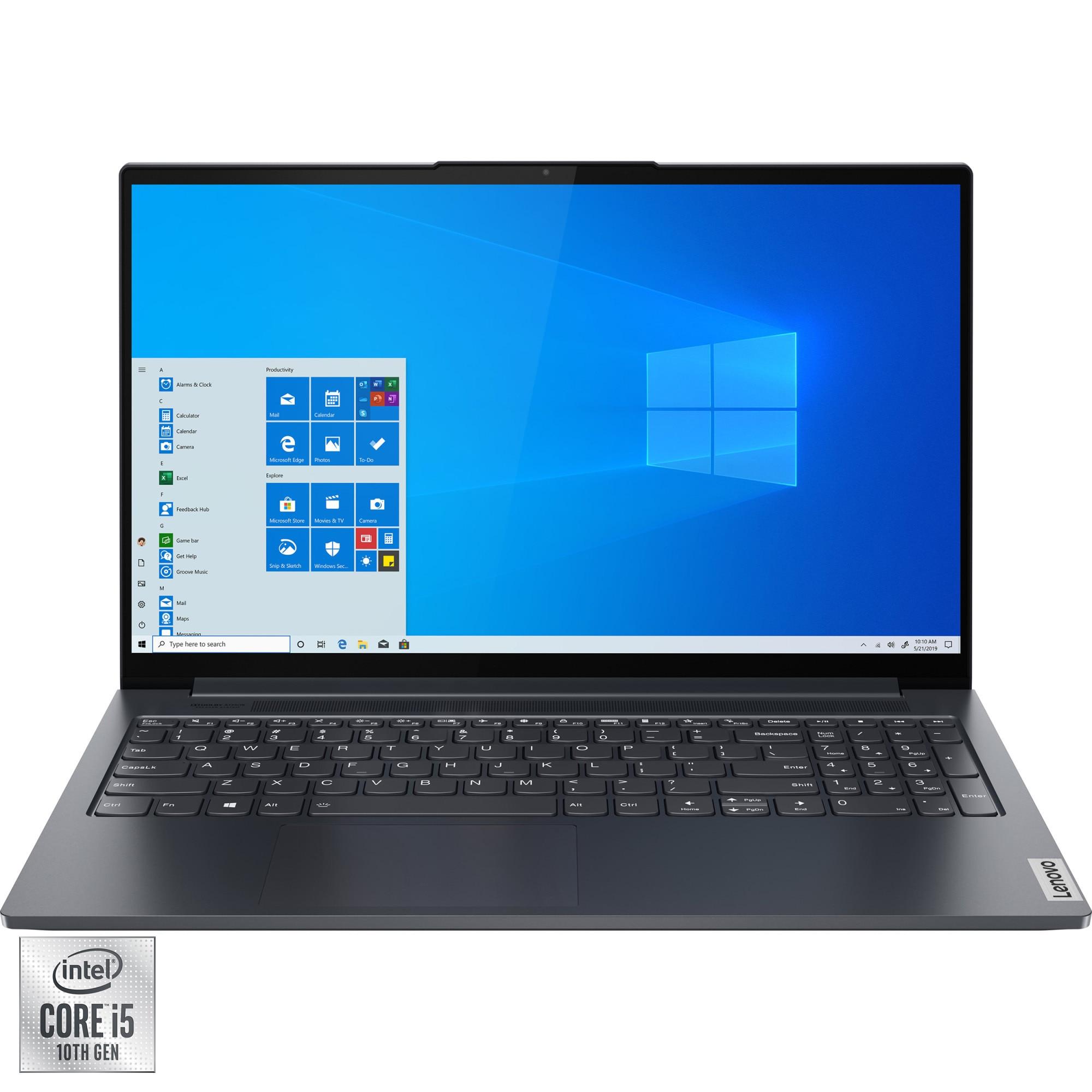 "Fotografie Laptop Lenovo Yoga Slim 7 15IIL05 cu procesor Intel® Core™ i5-1035G1, 15.6"" Full HD, 16GB, 512GB SSD, NVIDIA® GeForce® MX350 2GB, Windows 10 Home, Slate Grey"